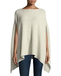 Neiman Marcus - Shaker-stitched Metallic Cashmere-blend Poncho Sweater - Lyst
