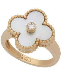 Van Cleef & Arpels - Estate 18k Yellow Gold Vintage Alhambra Mother-of-pearl Diamond Ring Size 4 - Lyst