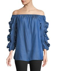 Metric Knits - Off-the-shoulder Shirred-sleeve Blouse - Lyst