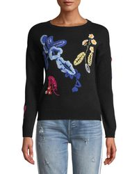 Neiman Marcus - Floral-embroidered Cashmere Sweater - Lyst