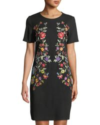 Neiman Marcus - Embroidered Scoop-neck Shift Dress - Lyst