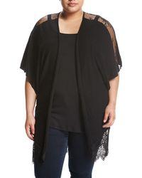 Zero Degrees Celsius - Lace-inset Dolman-sleeve Cardigan Black Plus Size - Lyst
