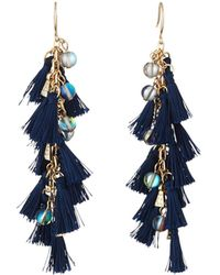 Lydell NYC - Tassel & Bead Linear Drop Earrings - Lyst
