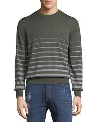 Brunello Cucinelli - Men's Striped Fine-gauge Crewneck Sweater - Lyst