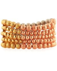 Lydell NYC - Tri-tone Multi-row Beaded Stretch Bracelet - Lyst