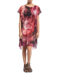 Fuzzi - Tulle Floral-print Coverup Dress - Lyst