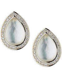 Ippolita - Lollipop Small Pear Stud Earrings In Clear Quartz & Mother-of-pearl Doublet W/ Diamonds - Lyst