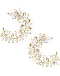 Serefina - Vine Crystal Hoop Earrings - Lyst