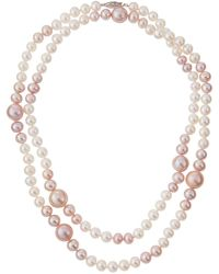 Belpearl - Long Pink & White Freshwater Pearl Necklace - Lyst