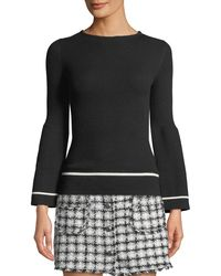 Haute Rogue - Flare-sleeve Striped-trim Ribbed Sweater - Lyst