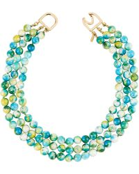 Kenneth Jay Lane - Three-strand Beaded Necklace Blue/green - Lyst