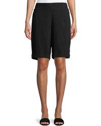 Neiman Marcus - Linen Bermuda Cuffed Shorts - Lyst