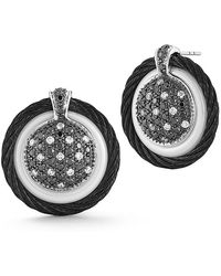 Alor - 18k Diamond Pave Cable Circle Drop Earrings - Lyst