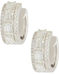 Roberto Coin - 18k White Gold Emerald-cut Diamond Hoop Earrings - Lyst