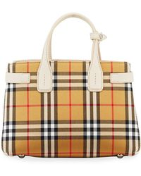 1393f48b8126 Lyst - Burberry Small Maidstone Peek Canvas Check Crossbody in Red