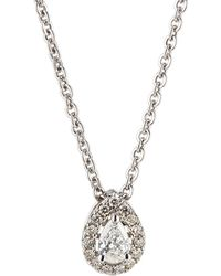 Neiman Marcus - 14k White Gold Diamond Pear Solitaire Pendant Necklace - Lyst
