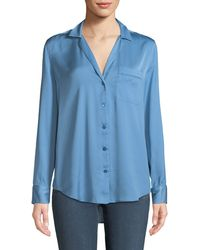 af550a3840544 Lyst - Rag   Bone Hahn Pickstitch Silk Satin Pajama Shirt in Blue
