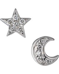 KC Designs - 14k White Gold Diamond Star & Moon Earrings - Lyst