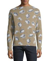 Valentino - Men's Pique Knitwear Floral-print Sweater - Lyst