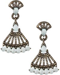 Bavna - Silver Drop Earrings With Champagne Diamonds & Aquamarine - Lyst