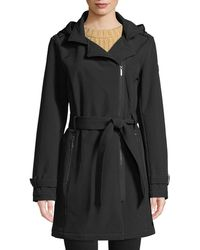 DKNY - Removable Hood Asymmetric Zip-front Soft-shell Belted Coat - Lyst