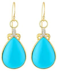 Jude Frances - Large Pear Turquoise Fleur Dangle & Drop Earrings W/ Diamonds - Lyst