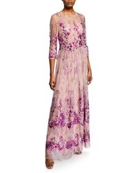 David Meister - Floral Embroidered Gown W/ Beaded Waist - Lyst