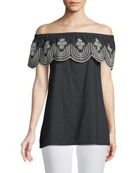 Neiman Marcus - Off-the-shoulder Embroidered Blouse - Lyst