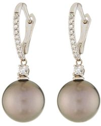 Belpearl - 18k Tahitian Pearl & Diamond Drop Earrings - Lyst