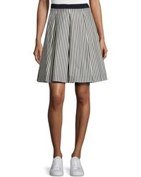 Moncler - Striped Pleated A-line Skirt - Lyst