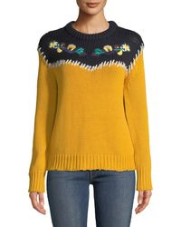 Haute Rogue - Nora Colorblock Embroidered Cotton Sweater - Lyst