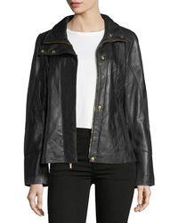 Ellen Tracy - Lambskin Scuba Paneled Jacket - Lyst