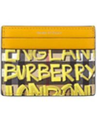 Burberry - Graffiti Check Leather Card Case - Lyst