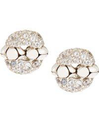 John Hardy - Kali Lava Silver & White Topaz Button Earrings - Lyst
