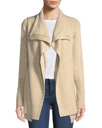 Neiman Marcus - Double Layer Open-front Wool-blend Cardigan - Lyst