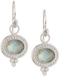 Jude Frances - 18k Provence Pave Oval Dangle & Drop Earrings With Labradorite - Lyst