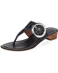 Bernardo - Grace Leather Thong Slide Sandals Navy - Lyst
