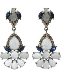 Bavna - Silver Drop Earrings With Champagne Diamonds Sapphire & Aquamarine - Lyst