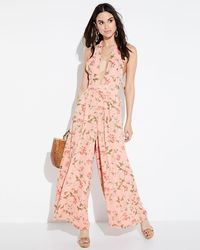 Endless Rose - Vine-print Halter Jumpsuit - Lyst