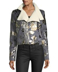 Goldie London - Inca Rose Metallic Cropped Faux-suede Jacket - Lyst