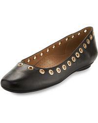 Neiman Marcus - Sabri Leather Grommet-trimmed Flat - Lyst