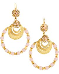 Jose & Maria Barrera - Beaded Hoop Earrings - Lyst