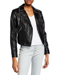 MICHAEL Michael Kors - Studded Faux-leather Moto Jacket - Lyst