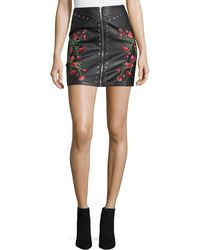 Haute Rogue - Embroidered Faux-leather Mini Skirt - Lyst