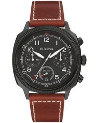 Bulova - 42.5mm Classic Men's Chronograph Watch W/ Leather Strap - Lyst