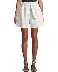 Brunello Cucinelli - Belted Wide Twill Shorts - Lyst