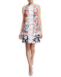 Eliza J - Floral-contrast Embroidered A-line Dress - Lyst