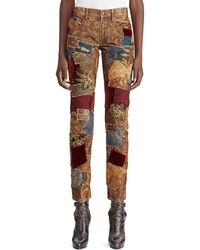 Ralph Lauren Collection 50th Anniversary Kinsley Multi-fabric Patchwork Cigarette-leg Jeans