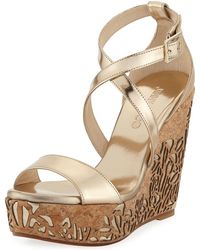 ddef568f1992 Lyst - Jimmy Choo Pandora Patent Wedge Slide Sandal in Natural