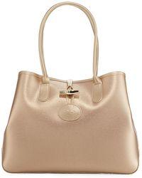 dca6396a4e1e Longchamp - Roseau Metallic Leather Shoulder Tote Bag - Lyst